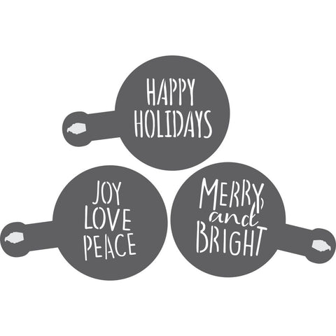 Merry and Bright Barista Stencil 3 Piece Set