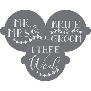 Bride and Groom Cake Top Stencil Trio