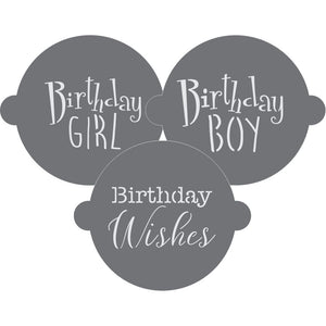Birthday Wishes Cake Top Stencil Trio