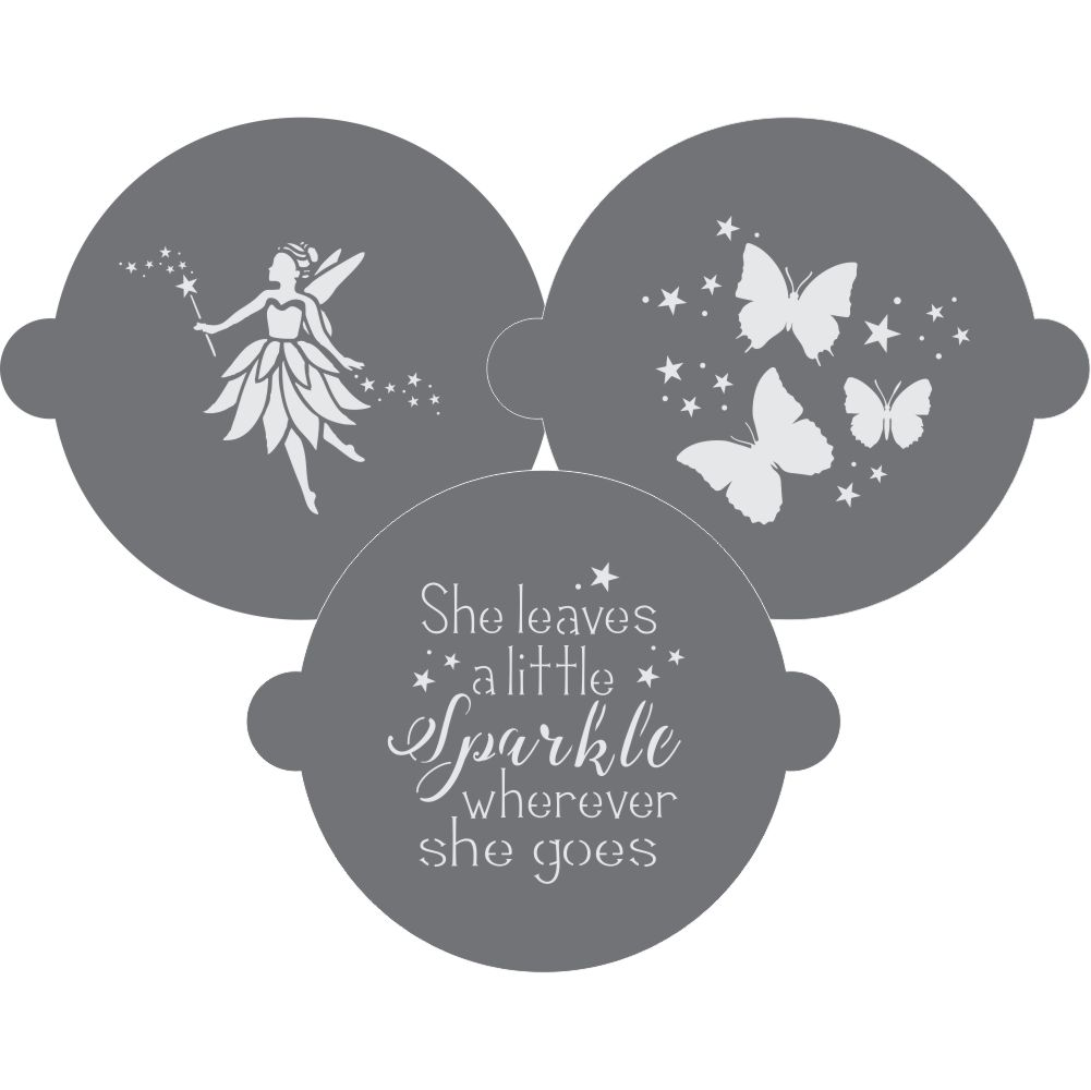 Fairy Cake Top Stencil Trio