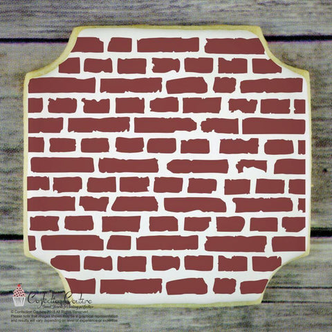 Brick Wall Basic Background Cookie Stencil by Confection Couture