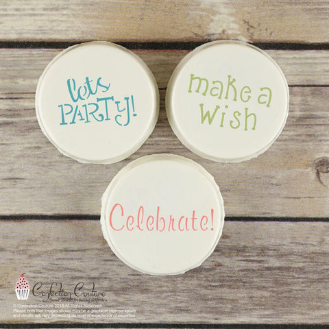 Birthday Basic Words Cookie Stencil by Confection Couture