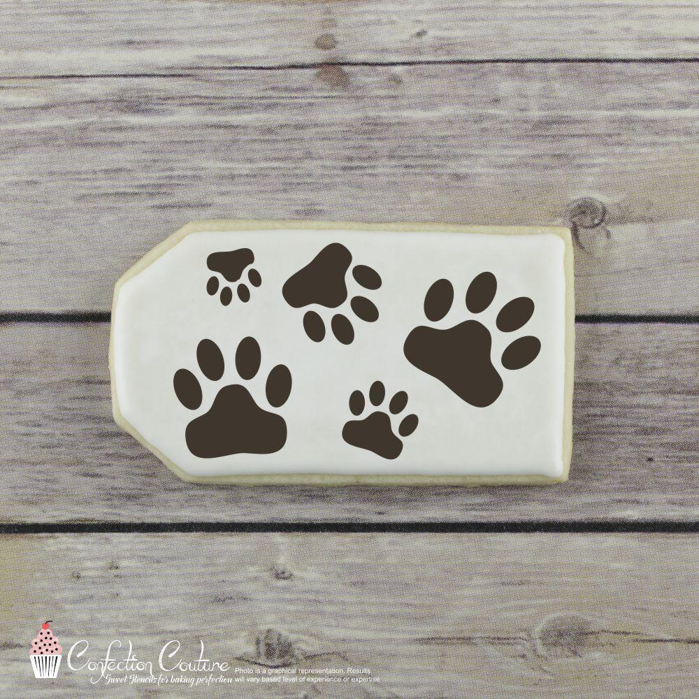 Paw Prints Background Cookie Stencil