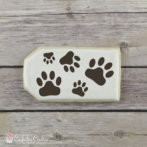 Paw Prints Background Cookie Stencil Background