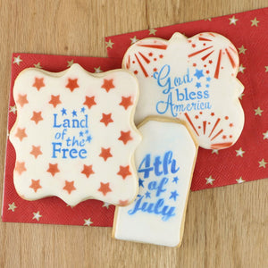 Patriotic Words Cookie Stencil