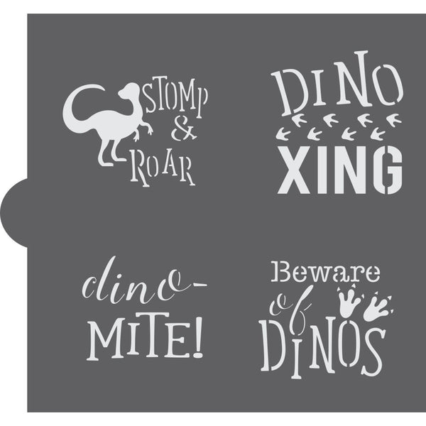 Dinosaur Basic Words Cookie Stencil by Confection Couture