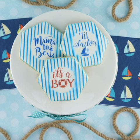 Nautical Baby Shower Words Cookie Stencil