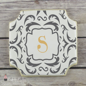 Victorian Monogram Basic Background Cookie Stencil by Confection Couture