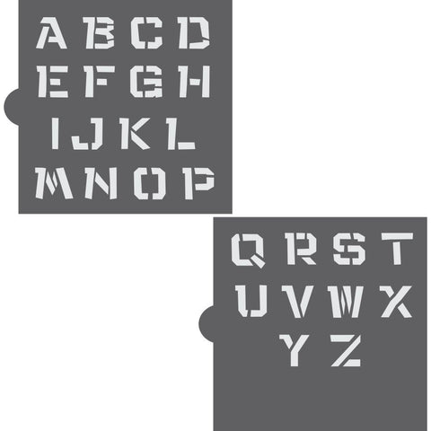 Jungle Fun Monogram Basic Alphabet Cookie Stencil Set
