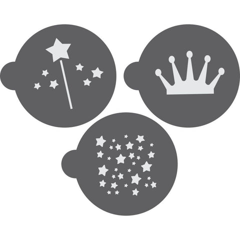 Princess Round Cookie Stencil 3 Piece Set by Confection Couture