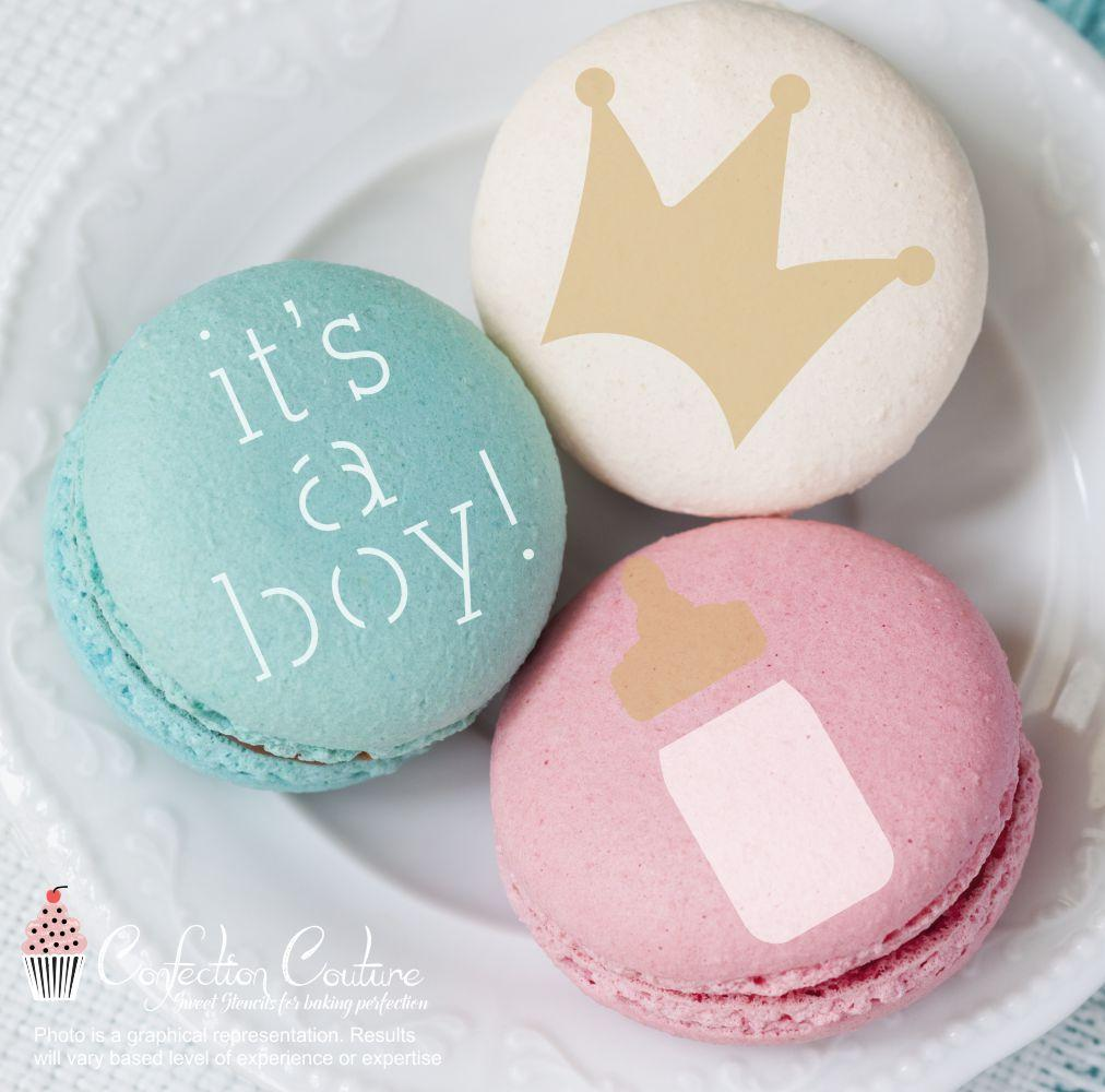 It's A Boy Round Cookie Stencil 3 Piece Set