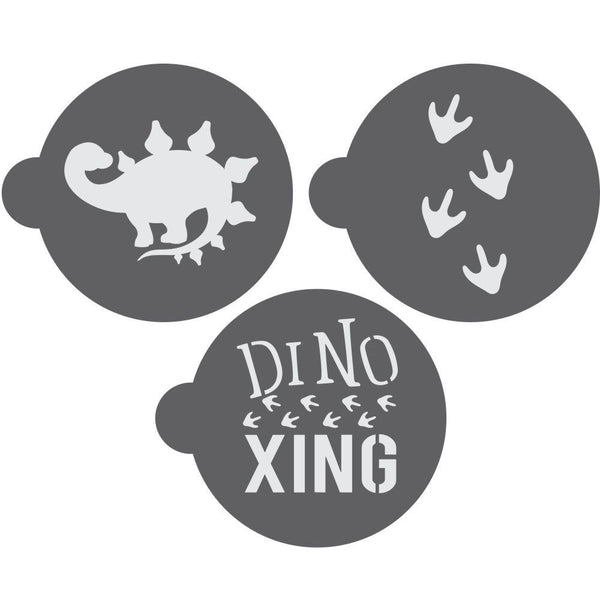 Dinosaur Round Cookie Stencil 3 Pc Set