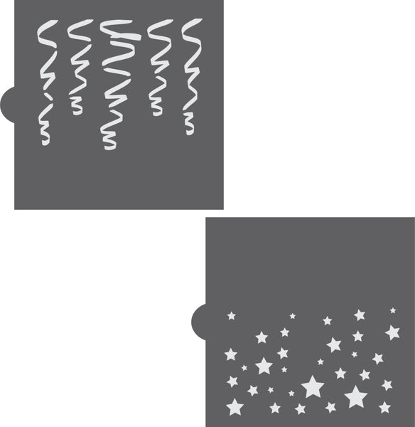 Stars & Streamers Basic Background 2 Overlay Cookie Stencil by Confection Couture