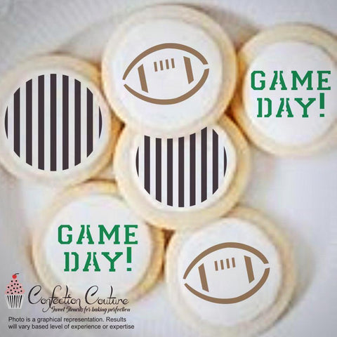 Football Round Cookie Stencil 3 Pc Set