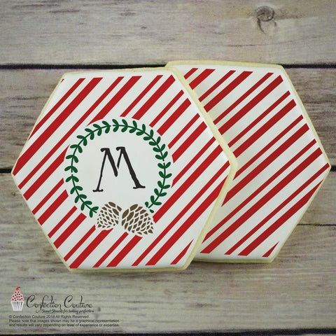 Candy Cane Stripe Monogram Background Cookie Stencil Background