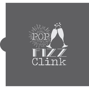Pop Fizz Clink Cookie Stencil
