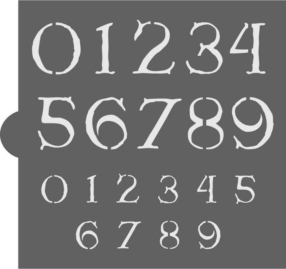 Antique Christmas Numbers Cookie Stencil