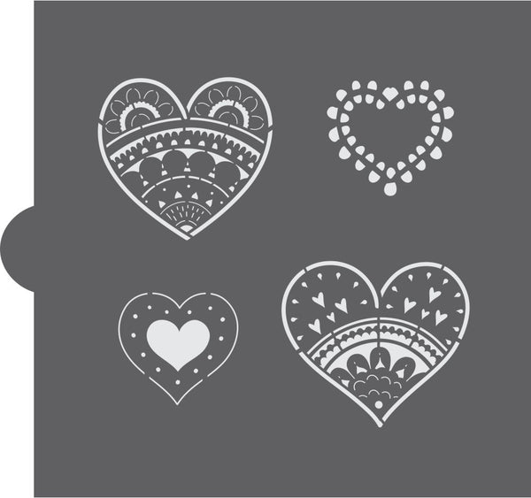 Paper Hearts Cookie Stencil