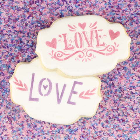 Retro Love Cookie Stencil