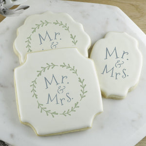 Mr. and Mrs. With Laurel Wreath Cookie Stencil
