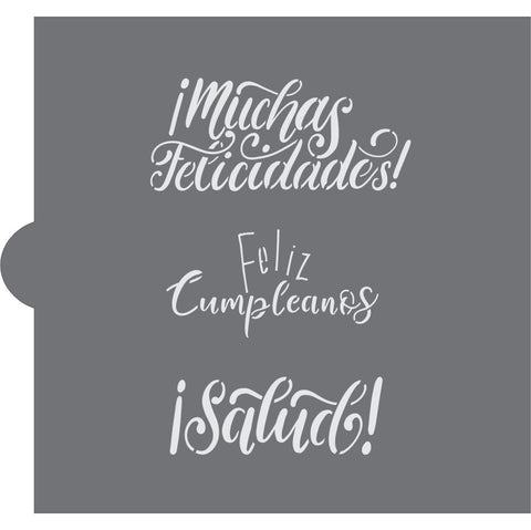 Español Celebratory Messages Cookie Stencil