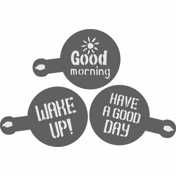 Wake Up Barista Stencil 3 Piece Set