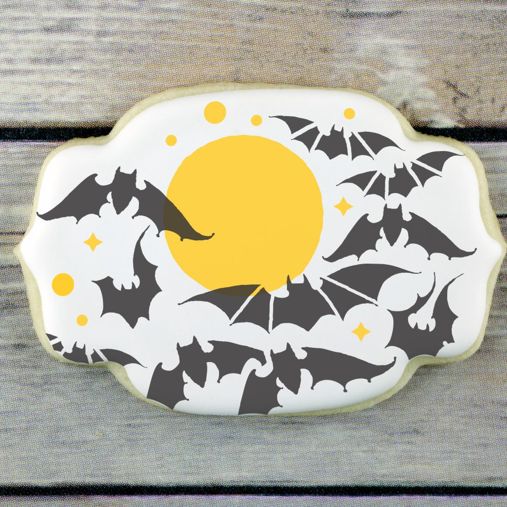 Full Moon & Bats 2 Overlay Background Cookie Stencil