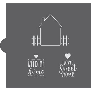 Home Sweet Home Message & Frame Cookie Stencil