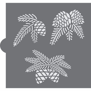 Pine Boughs Accent Cookie Stencil