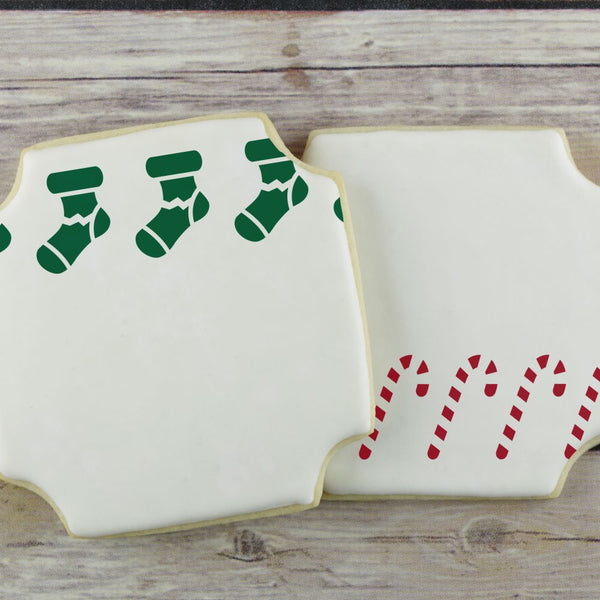 Candy Canes and Stockings Cookie Stencil Edger