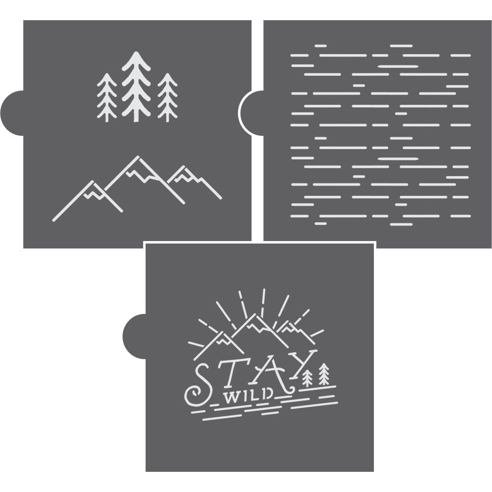 Stay Wild 3 Piece Cookie Stencil Set