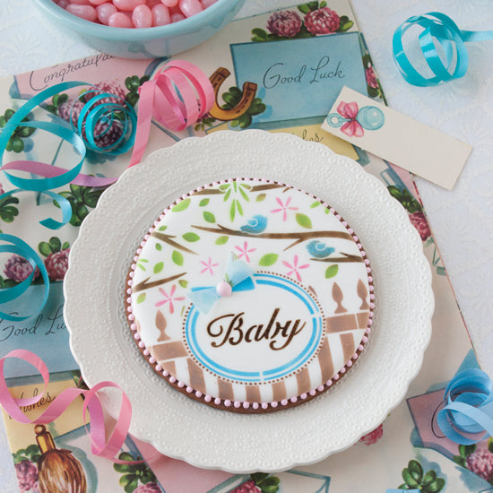 Baby 2 Prettier Plaques 5-Piece Cookie Stencil Set by Julia Usher