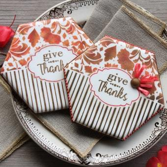 Give Thanks Prettier Plaques 5-Piece Cookie Stencil Set by Julia Usher
