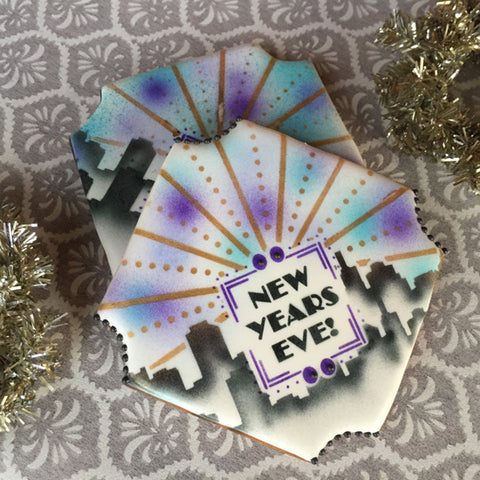 NY New Years Prettier Plaques Cookie Stencil 5 Pc Set