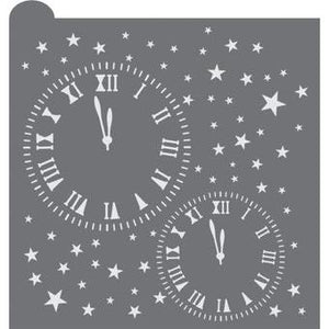 New Years Clocks Prettier Plaques Background Cookie Stencil
