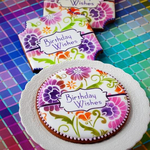 Large Damask Birthday Prettier Plaques Cookie Stencil by Julia