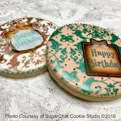 Victorian Birthday Prettier Plaques™ 5-Piece Cookie Stencil Set by Julia Usher