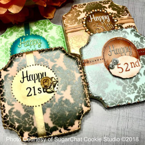Large Damask Birthday Prettier Plaques™ 5-Piece Cookie Stencil Set by Julia Usher