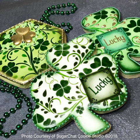 Clover Vine Prettier Plaques Cookie Stencil Set by Julia Usher