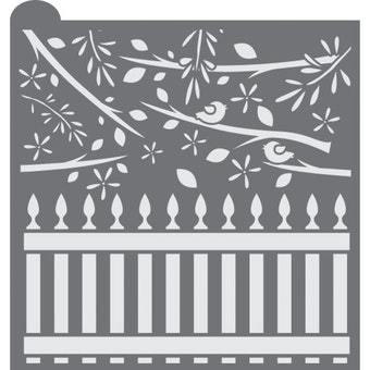 Whimsical Fence Prettier Plaques Background Cookie Stencil