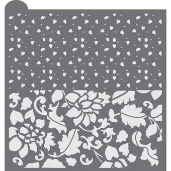 Hearts & Flowers Prettier Plaques Background Cookie Stencil