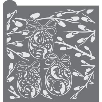 Ornate Eggs Prettier Plaques Background Cookie Stencil by Julia Usher