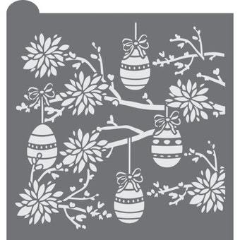 Whimsical Easter Prettier Plaques Background Cookie Stencil