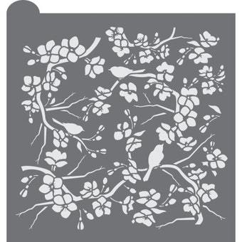 Birds and Blossoms Prettier Plaques Background Cookie Stencil