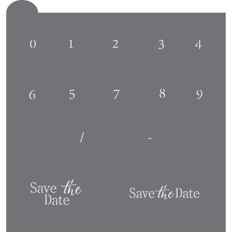 Save the Date Prettier Plaques Message Cookie Stencil by Julia Usher