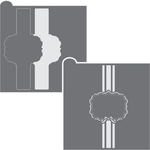 Bow Plaque with Vertical Band Prettier Plaques 3-Piece Frame Stencil Set by Julia Usher