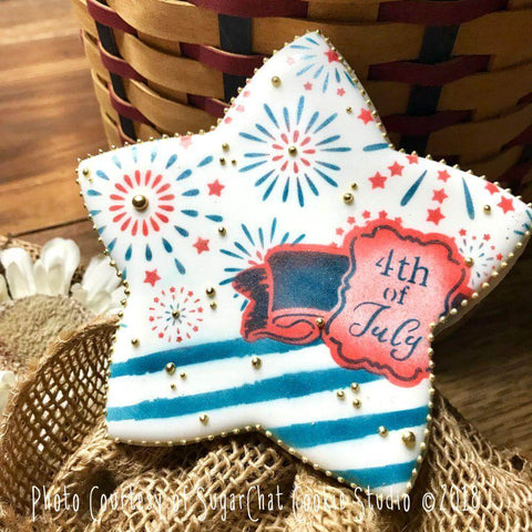 4th of July Prettier Plaques 5-Piece Cookie Stencil Set by Julia Usher