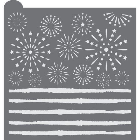 Fireworks Prettier Plaques Background Cookie Stencil