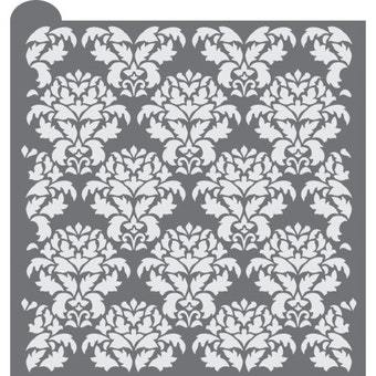 Vintage Damask Prettier Plaques Background Cookie Stencil