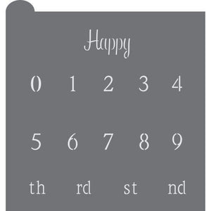 Happy Birthday Numbers Prettier Plaques Message Cookie Stencil by Julia Usher